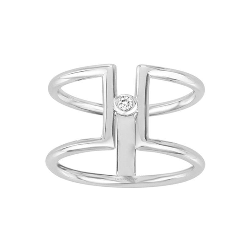 Bague Femme SolitaireHarmonieLa Garçonne ARGENT 925/1000 et Diamant