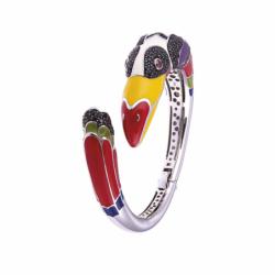 Bracelet Femme Jonc Toucan UNA STORIA ARGENT 925/1000 Laqué Multicolore et Oxydes