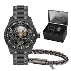 Coffre montre homme POLICE Vertex acier noir et bracelet